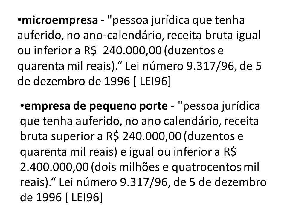 microempresa - pessoa jurídica que tenha auferido, no ano-calendário, receita bruta igual ou inferior a R$ 240.000,00 (duzentos e quarenta mil reais). Lei número 9.317/96, de 5 de dezembro de 1996 [ LEI96]